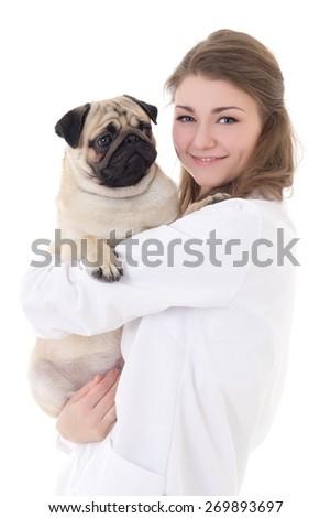 happy young woman vet holding pug dog isolated on white background - stock photo