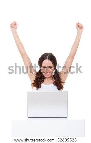 happy young woman with laptop. isolated on white background - stock photo