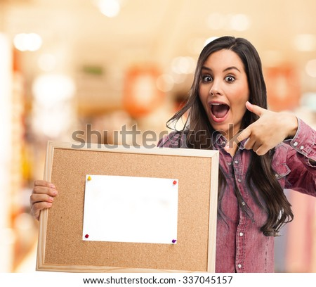 happy young woman with placard - stock photo
