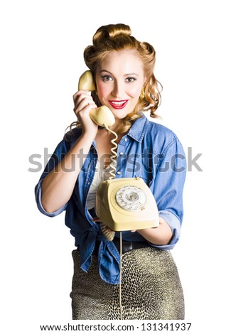 Happy young woman with retro telephone, white background - stock photo