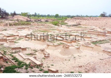 HARAPPA, PAKISTAN - MARCH 26 2015: Harappa is an archaeological site of the Indus Valley Civilization, that emerged circa 2600 BC near Ravi River. - stock photo