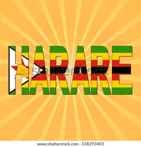 Harare flag text with sunburst illustration - stock photo