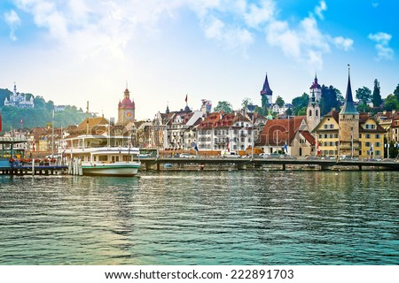 Harbor and buildings in city center in Lucerne, Switzerland - stock photo