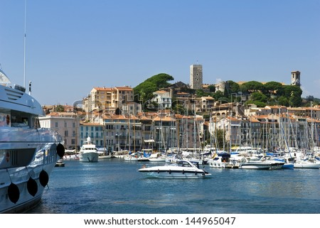 Harbor and marina at Cannes, French Riviera, France - stock photo
