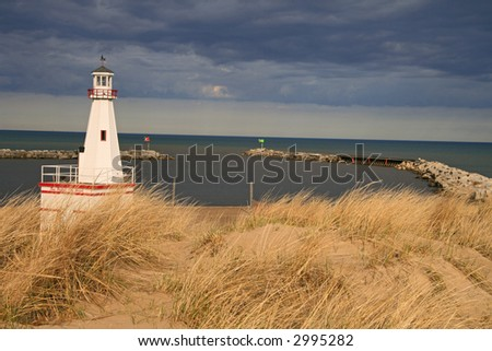 Harbor Entrance at New Buffalo, Michigan, with an approaching storm - stock photo