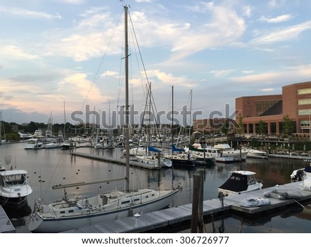 Harbor in Stamford, Connecticut - stock photo