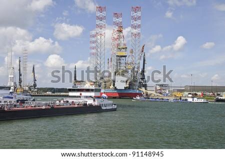 harbor industry of rotterdam - stock photo