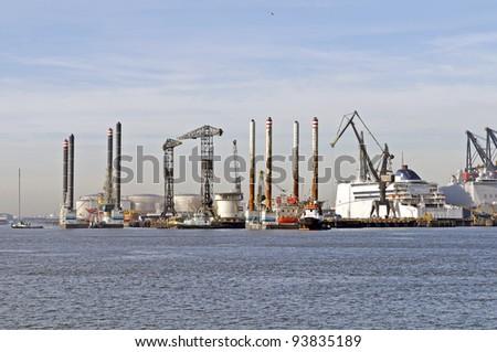 harbor industry of rotterdam netherlands - stock photo