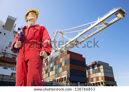Harbor master with clipboard, overalls, hard hat and safety glasses standing in front of a large container ship being unloaded - stock photo