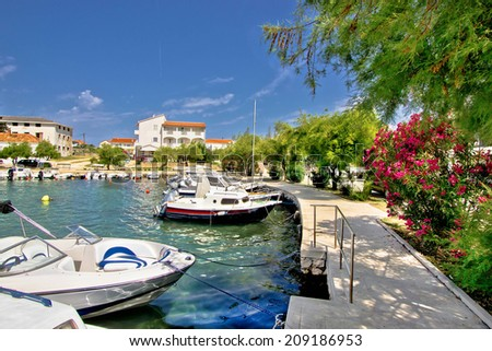 Harbor of adriatic village Petrcane, Dalmatia, Croatia - stock photo
