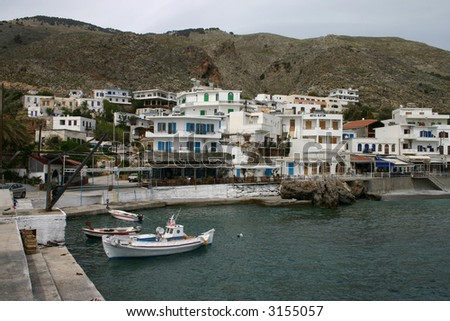 Harbor  of Chora Sfakion, Crete, Greece - stock photo