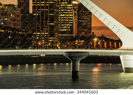 Harbor Puerto Madero at night Buenos Aires Argentine, skyline and ships - stock photo