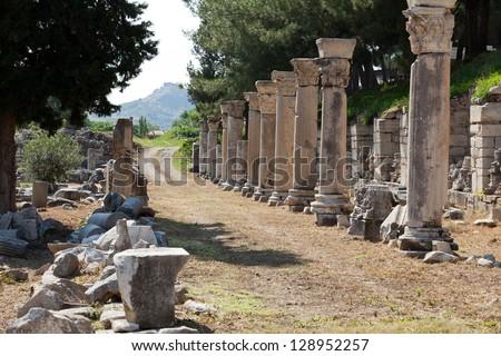 Harbor Street  in the ancient Greek city Ephesus - stock photo