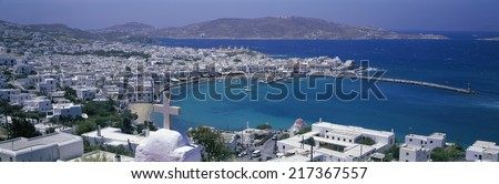 Harbor view, Mykonos, Greece - stock photo