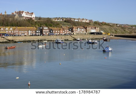 Harbor with fishing boats at Folkestone in Kent. England. - stock photo