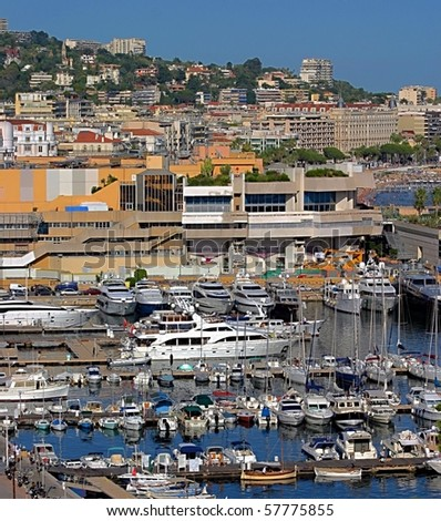 Harbour and marina at Cannes, France - stock photo