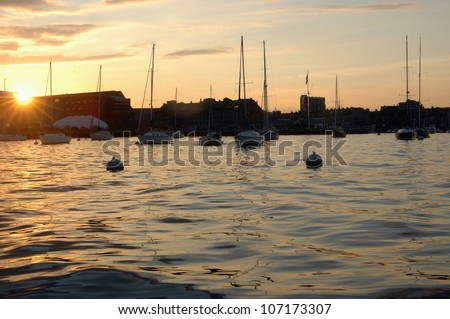 Harbour at dusk - stock photo