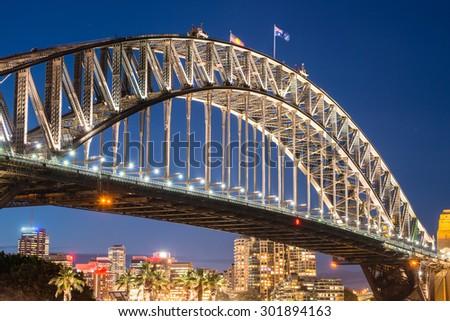 Harbour bridge one of the famous iconic of Sydney, Australia. - stock photo