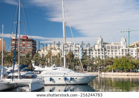 Harbour of Alicante town, Valencia province, Spain - stock photo