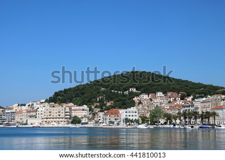 Harbour of Split and Marjan Hill in the city of Split, a popular tourist destination, Croatia - stock photo