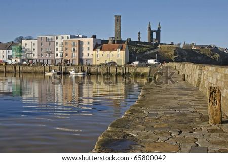 Harbour scene, St.Andrews, Fife, Scotland - stock photo
