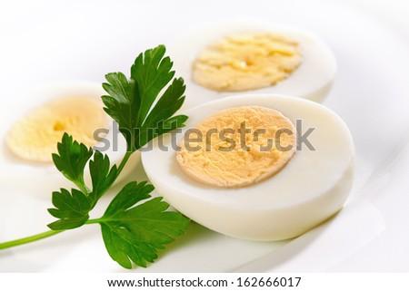 Hard boiled Eggs on white background - stock photo