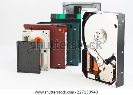 Hard disk and data backup tapes - stock photo