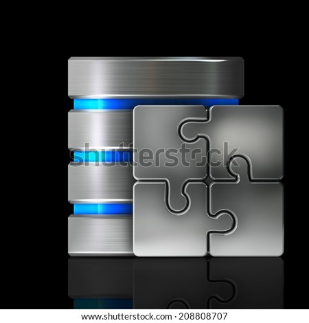 Hard disk and database and Puzzle icon with isolated on black background High resolution 3d  - stock photo