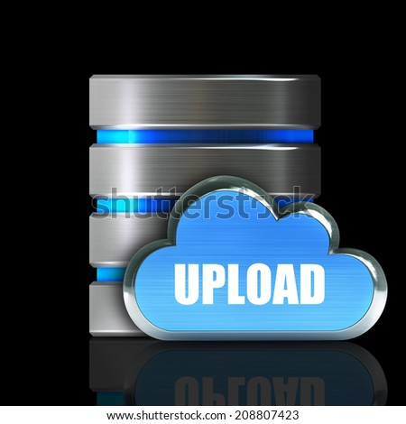 Hard disk and database icon with metallic cloud isolated on black background High resolution 3d  - stock photo