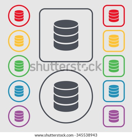Hard disk and database sign icon. flash drive stick symbol. Symbols on the Round and square buttons with frame. illustration - stock photo