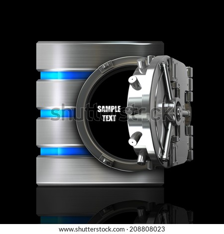 Hard disk and database with bank vault door isolated on black background High resolution 3d  - stock photo