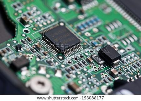 Hard Disk Circuit, Macro Photo - stock photo