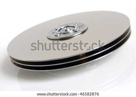 Hard disk detail on white background - stock photo