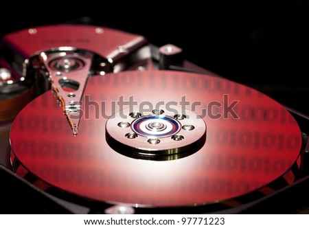 hard disk drive blue color - stock photo