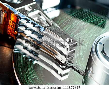 hard disk drive detail - stock photo