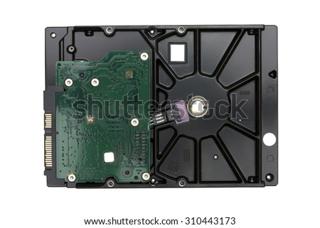 Hard disk drive(HDD) isolated on white background. - stock photo