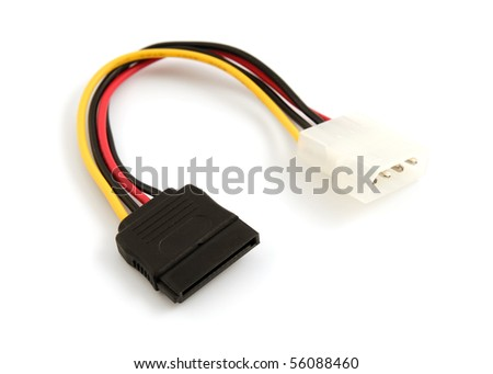Hard disk drive power cables on a white background - stock photo