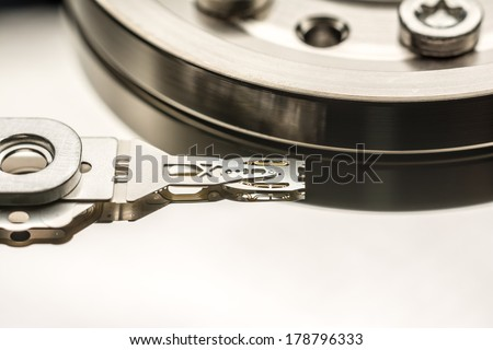 Hard Disk Drive Read Write Head Close Up - stock photo