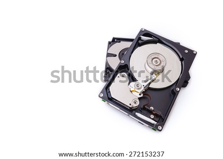 Hard Disk drives isolate on white background. - stock photo