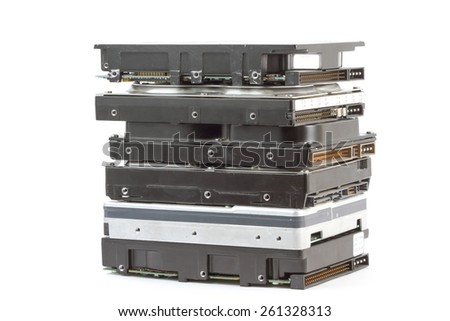 Hard Disk Drives on white background. - stock photo