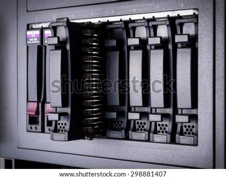 Hard disk maintenance alert close up - stock photo