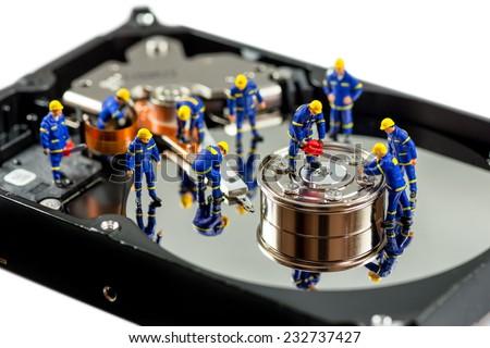 Hard disk repair concept. Macro photo - stock photo