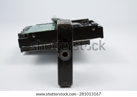 hard disk with a padlock for the protection of data - stock photo