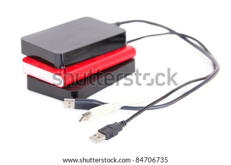 Hard disks, isolated on white background - stock photo