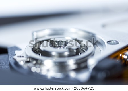 Hard drive element photographed with the professional macro lens - stock photo