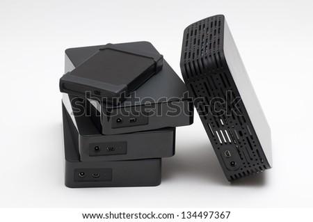 Hard Drives External hard drives. - stock photo