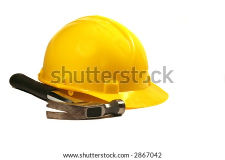Hard Hat and Hammer - stock photo