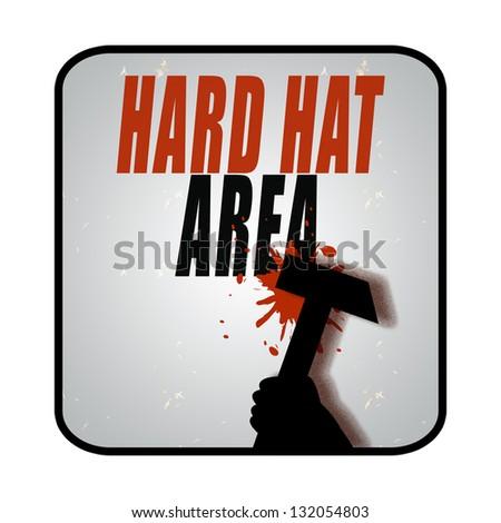 Hard hat area sign - stock photo