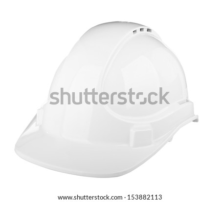 Hard hat used on construction site in  white isolated on white - stock photo