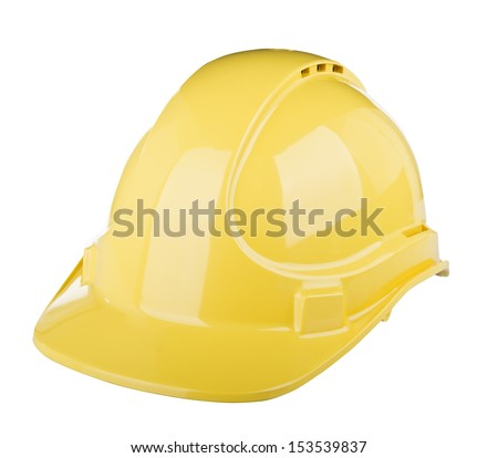 Hard hat used on construction site in  yellow colour isolated on white - stock photo